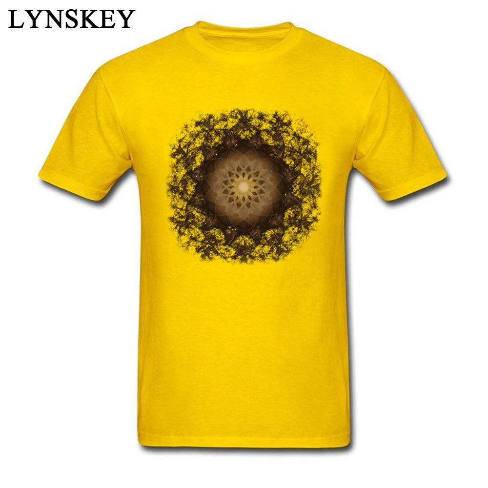 100% Cotton Tops Tees Copper Mandala for Boys Printed On T-Shirt Casual Prevailing Round Neck Short Sleeve Sweatshirts Copper Mandala yellow