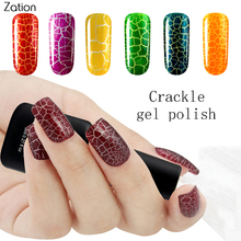 Zation 8ml Crack UV Gel Varnish Crackle Nail Polish Lacquer Cracking Nail Art Polish Colorful Primer Manicure Design Nail Tools(China)