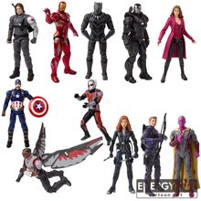 "7"" Winter Soldier Iron Man Black Panthe Black Widow Scarlet Witch Vision Falcon Ant-Man Trick Shot War Machine PVC action figure"