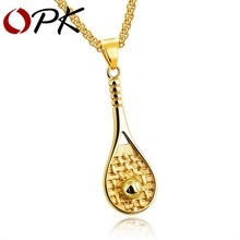 OPK Sporty Tennis Racket Eacquet Pedant Necklace For Men Male Black / Gold Color Stainless Steel Box Chain Dropshipping GX1203(China)