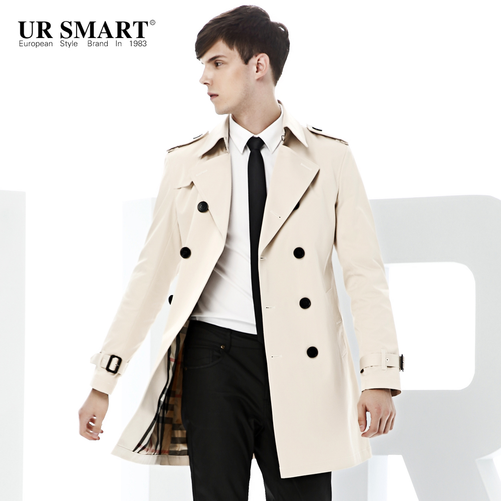 URSMART paragraph double-breasted men fall dust coat grows in men's windbreaker white original authentic trench coat(China)