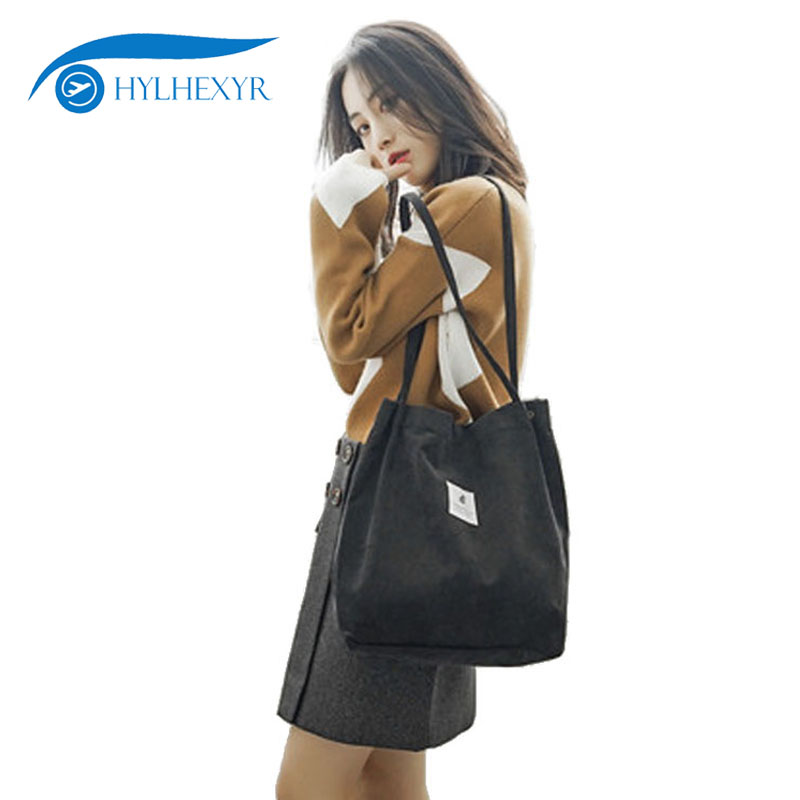 Hylhexyr Woman Corduroy Shoulder Bag Reusable Shopping Bags Casual Tote Female Handbag For A Certain Number Of Dropshipping handbag