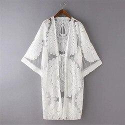 Новый летний купальник крючок для плетения кружева пляж бикини прикрытие 3/4 рукав женские топы пляжное платье белая пляжная туника рубашка