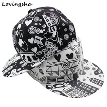 LOVINGSHA Doodle Design Adult Unisex Adjustable Girl Baseball Cap For Men Hot Selling Women  Hip Hop Snapback Caps Boy Hat AD033