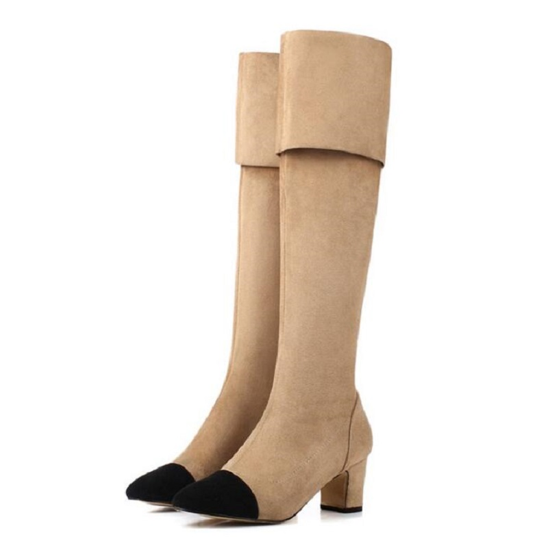 New Brand Designer Over The Knee Thigh High Stretch Suede Leather Boots Sexy Nude Black Fashion Woman High Shoes Booties <br>