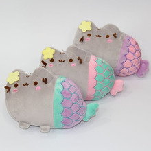1 Pcs Random Color 18CM Cartoon Pusheen Cat Little Mermaid Plush Toys Lovely Animal Smile Cat Plush Doll Christmas Gift for Kids