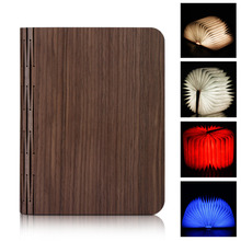 Excelvan Wooden Foldable LED Nightlight Booklight&LED Folding Book Lamp,USB Rechargeable for Decor Desk/Table/Wall Magnetic Lamp