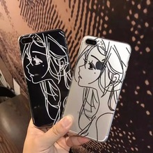 thicken cute cartoon simple Sketch girl transparent TPU soft gel silicone clear case for iphone 6 6s 6 s 7 plus cases cover
