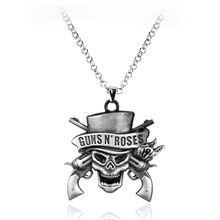 Guns N' Roses Jewelry Famous US Rock Band GUNS N' ROSES Logo Pistol Skull Head Metal Pendant Necklace for Fans