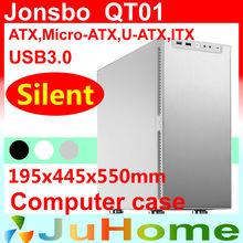 Retail box, free gift 12cm fan,Silent game Chassis, USB3.0, 3.5'' HDD, ATX power supply, Jonsbo QT01, other V2, V3+