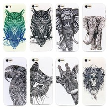 Sketch Animal Cat Owl Elephant Phone Cases for iPhone 4 4s 5 5s SE case cover Transparent Plastic Hard Shell
