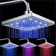 led shower head 8 inches,LED top spray,temperature sensor 3 color water led,led rain head shower head,Free Shipping J14216