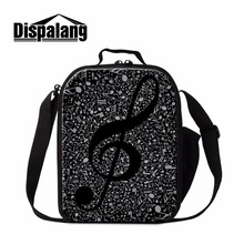 Dispalang Personalized Lunch Bag Patterns Musical Print Thermal Lunch Conatiner for Kids Cool Preschool Messener Cooler Bag Girl