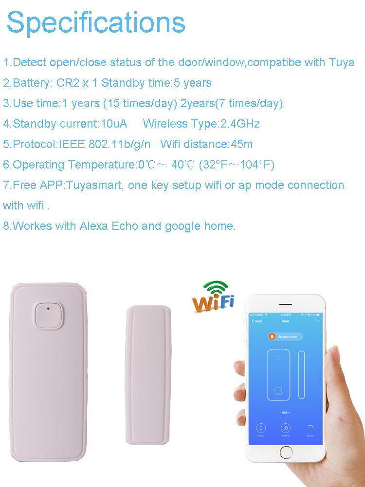 Wifi Door Sensor Window Sensors Alexa Google Home IFTTT Alarm Security Smart Life APP Wireless Remote Control