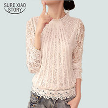 2016 New Summer Ladies White Blusas Women's Long Sleeve Chiffon Lace Crochet Tops Blouses Women Clothing Feminine Blouse 51C(China)