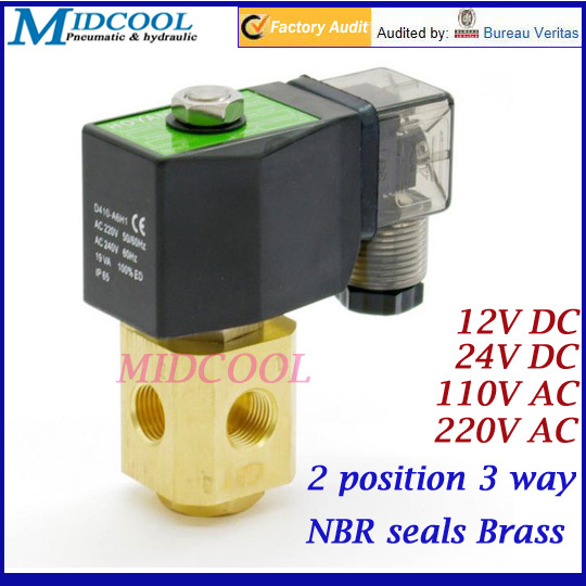 2 position 3 way Direct acting NC mini solenoid valve 1/8 24V DC NBR seals brass for gas water oil<br>