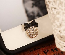 Cute lovely bling glitter crystal buttery bow phone home return key button sticker for Apple iPhone 4 5 6 7 plus iPad Samsung(China)