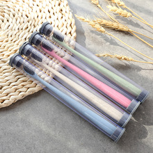 4 pcs/lot  Green Wheat Straw Smooth Soft Toothbrush Portable Clear Teeth Bamboo Charcoal Toothbrush Travel Couple Adult Brush