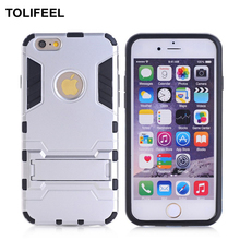 "TOLIFEEL For Apple iphone 6 6S Case Soft Silicone Shockproof Robot Armor Rubber Kickstand Back Cover Cases For iphone 6S 4.7""(China)"