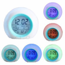 Nature Sound 7 Color Digital LED Glowing Change Thermometer Clock Alarm #K400Y#