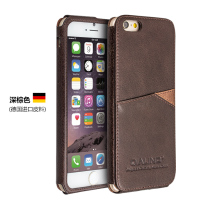 Qia Li High-end dark-brown Cowhide protective sleeve With the card slot business Genuine leather design Case For iPhone6/6S case(China)