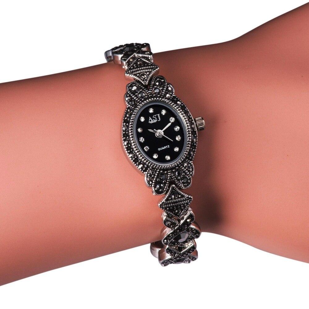 Ladies Black Vintage Bracelet Watch, Womens Watches for Small Wrists, Girls Quartz Watch<br><br>Aliexpress