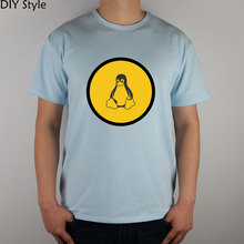 yellow circle Penguin FREEBSD LINUX T-shirt cotton Lycra top(China)