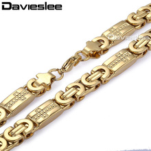 Buy Davieslee Womens Mens Necklace Chain Gold Silver Color Flat Byzantine Link Cross Stainless Steel Vintage Jewelry 6/8mm LKN269 for $8.93 in AliExpress store