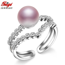 FEIGE Fashion Design Elegant Pearl Rings for Women 8-9MM Purple Freshwater Pearl Finger Rings Fine Jewelry Gifts Drop Shipping(China)