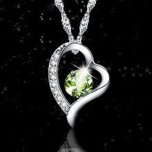 LIAMTING 2016 Newest 100% 925 Sterling Silver Heart Pendants Necklace With 7MM Yellow Crytal 5A Cubic Zircon Women Jewelry VA141