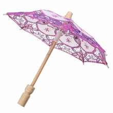 Wedding Bridal Party Multicolor Handmade Embroidered Cotton Lace Parasol Sun Umbrella Decoration Supplies