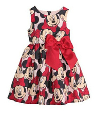 2017 New arrival baby girls Minnie princess dress red sleeveless cartoon vest dresses for children's clothes Christmas