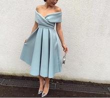 Simple Boat Neck  Off the Shoulder Pleat Tea Length Short Evening Dress 2016 Ice Blue Satin Arabic Prom Gowns