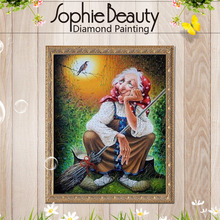 Sophie Beauty Mosaic Needlework Embroidery Beads witch broom Diy Full Square Diamonds Painting Cross Stitch Inlay Handwork Arts(China)