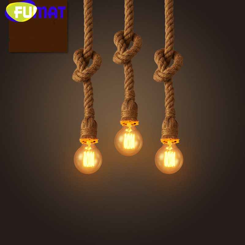 American Hemp Rope Pendant Light Restaurant Bar Loft Pendant Lamp Creative Industrial Retro Cafe Suspension Light Fixture<br>