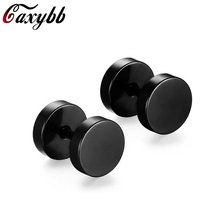 2017 Stainless Steel Barbell Dumbbell Cross Earring Stud For Men Punk Double Sided Earrings Piercing Jewelry