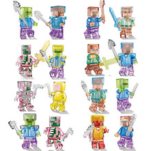 Buy 16PCS Mine World Shadow Dragon Crystal Zombie Steve Skeleton Compatible Legoing Minecrafted Building Blocks Craft Bricks Toys for $24.80 in AliExpress store