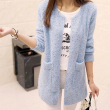 2017 Long Cardigan Women Sweater Spring Fall Winter Casual Long Sleeve Pocket Women Loose Sweaters Coat Cardigans Jacket Pull