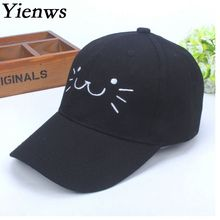 Yienws Girl Baseball Cap Brim Curved Bone Love Pink Black White Cap Kids Kawaii Cat Korean Pop Summer Cap Wholesale YH337(China)