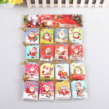 16pcs/lot glitter 16 different style of Santa Claus Mini greeting card flash powder message card Christmas holiday blessing card