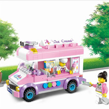 City Girl's Dream Friends Figures Urban Mobile Ice Cream Truck Building Block Assembly Garbage Truck Bus Educational Toys