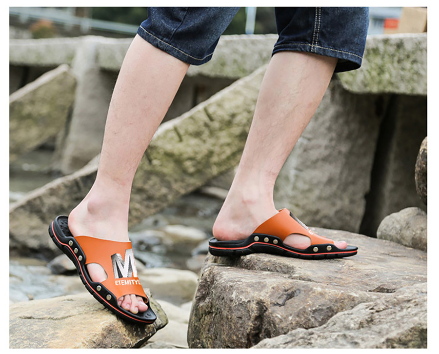 Plus Size Summer Slippers Outdoor Men Casual Sandals Beach Shoes Split Leather Non-Slip Flip Flops Mens Flats Euro 38-45 DR007 11 Online shopping Bangladesh