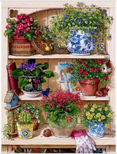 Warm Home Flower On The Shelf Diamond Embroidery Diy Diamond Paintings Mosaic Picture Pattern Cross Stitch Full Rhinestone EL181