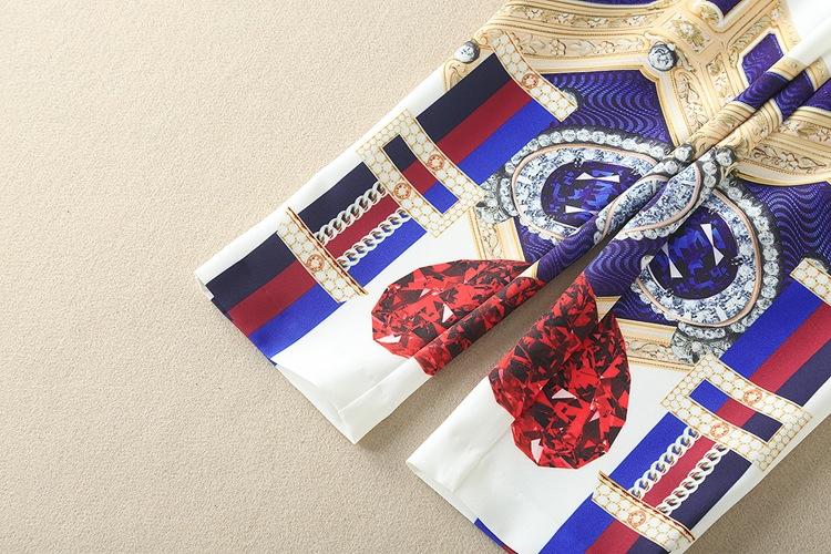 High Quality 17 Designer Runway Suit Set Women's Two Piece Casual Tops + Fashion Print Mid Calf Pants Set suit Free DHL Aramex 19