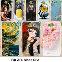 Mobile Phone Cases For ZTE Blade GF3 4.5 inch Cover T320 Cases Colorful Animals Flowers Soft TPU Silicon Skins Housing Bags