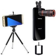 Universal 3-in-1 Phone Lens Set 8X Zoom Long Focal Camera Lens+Universal Holder+Mini Tripod for Mobile Phone Smartphone CL-H8XZJ