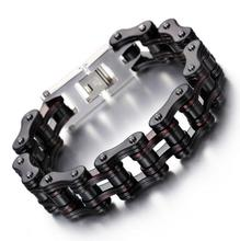 10mm 16mm Heavy Dark Red Black 316L Stainless Steel Bike Biker Motorcycle Link Chain Bracelets Bangle Boys Mens Jewelry 22-23CM