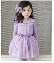 2016 New arrivals girls clthes flower girl dress pink/purple baby girl rose dresses spring/autumn party dress girls tutu dress