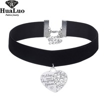 HUALUO Wholesale Beautiful Heart Alloy Soft Black Velvet Choker Necklaces for Women Short Chokers Necklaces NW3561(China)