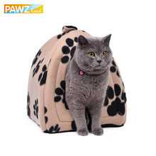 Wholesale Price Cat House and Pet Beds 5 Colors Beige and Red Purple, Khaki, Black with Paw Stripe, White with Paw Stripe(China)